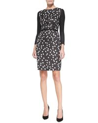 Band Of Outsiders Silk-blend Printed Long-sleeve Dress - Lyst