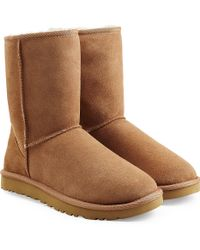 UGG - Classic Short Suede Boots - Brown - Lyst