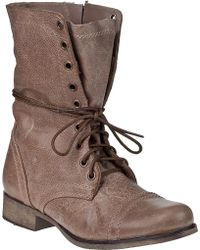 Steve Madden Troopa Lace-Up Boot Stone Leather brown - Lyst
