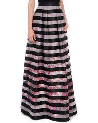 Kay Unger Floral Stripe A Line Skirt - Lyst