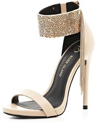 River Island Nude Metal Cuff Barely There Sandals - Lyst