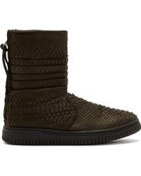 Christian Peau Black Python High_Top Sneakers - Lyst