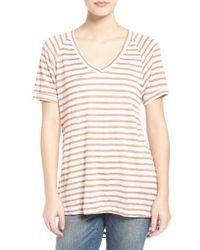 The Hanger | Stripe V-neck High/low Tee | Lyst