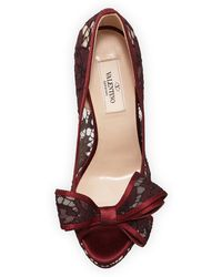 Valentino Lace Bow Peep-Toe Platform Pump - Lyst