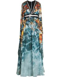 Elie Saab Butterfly Sleeve Gown multicolor - Lyst