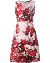 Carolina Herrera Floral Print A-Line Wrap Dress - Lyst