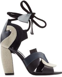 Pierre Hardy Leather And Linen Sandals - Lyst