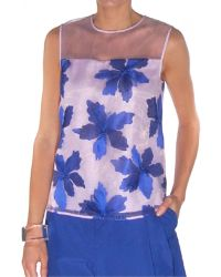 Rebecca Taylor Sleeveless Floral Organza Top blue - Lyst