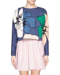 Chloé Floral Colourblock Intarsia Cropped Sweater - Lyst