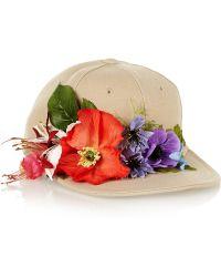 Piers Atkinson - Flower-Embellished Canvas Cap - Lyst