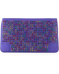 Christian Louboutin Loubiposh Multicolor Spiked Clutch Bag - Lyst