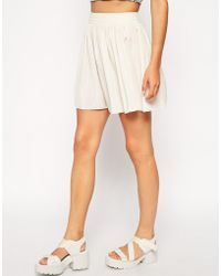 American Apparel Silky Shirred Waist Skirt white - Lyst