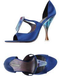 Giorgio Armani Sandals blue - Lyst