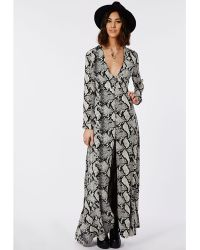 Missguided V-Neck Button Down Split Front Maxi Dress Snake Print - Lyst