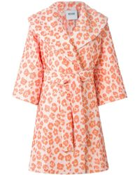 Moschino Cheap & Chic Jacquard Leopard Print Coat - Lyst