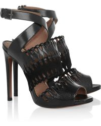 Alaïa Cutout Karung Suede and Leather Sandals - Lyst