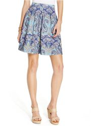 Inc International Concepts Petite Paisley-Print Pleated Scuba Mini Skirt - Lyst