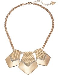 Guess Three Piece Textured Necklace - Lyst