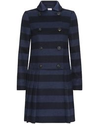 RED Valentino Striped Pleated Skirt Coat - Lyst