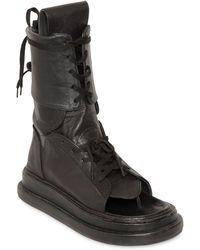 KTZ Gladiator Open Toe Leather Boots - Black