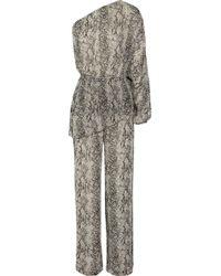 Tamara Mellon - One-shoulder Printed Silk-chiffon Jumpsuit - Lyst