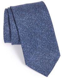 Maker & Company Solid Cotton & Silk Tie - Blue