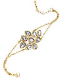 T Tahari 14K Gold-Plated Crystal Cluster Bracelet - Lyst