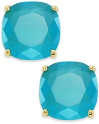 Kate Spade Earrings, Gold-Tone Turquoise Square Stud Earrings - Lyst