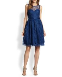 Theia Ruched Taffeta Cap-Sleeve Gown - Lyst
