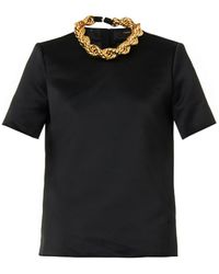 Adam Lippes Necklace-Detail Satin Top - Lyst