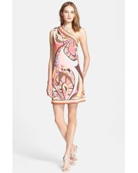 Emilio Pucci Flower Power Print One-Shoulder Dress - Lyst