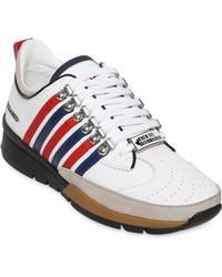 DSquared² Striped Leather & Suede Sneakers - Lyst