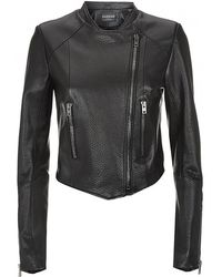 Harrods Of London Cropped Leather Jacket - Lyst