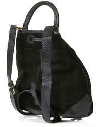 Topshop Womens Suede Duffle Backpack  Black - Lyst