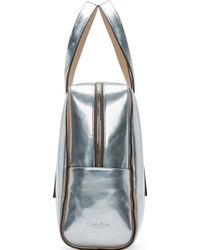 Calvin Klein - Silver Metallic Leather Briefcase - Lyst