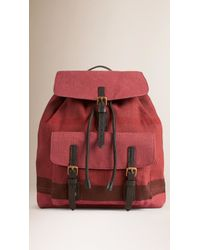Burberry | Overdyed Canvas Check Backpack | Lyst