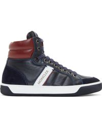 Moncler Navy And Burgundy Leather High_Top Sneakers - Lyst