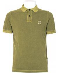 Stone Island Pistachio Color Cotton Polo Shirt - Lyst
