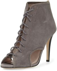 SJP by Sarah Jessica Parker Marci Suede Lace-up Bootie - Grey