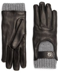 Gucci Leather & Cashmere Driving Gloves - Lyst