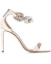 Giambattista Valli Chain-Detail Metallic-Leather Sandals - Lyst