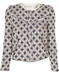 IRO Handi Blue And White Embroidered Jacket - Lyst