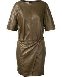 Isabel Marant Falco Dark Bronze Leather Wrap Up Mini Dress - Lyst
