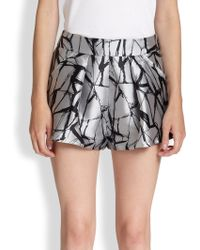 Sachin & Babi Pixie Crackle-print Metallic Satin Shorts - Lyst