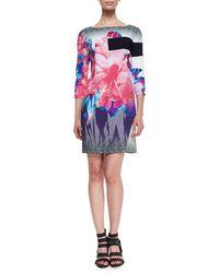 Prabal Gurung Bateau-Neck Exploded Floral-Print Shift Dress - Lyst