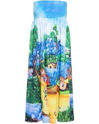 Stella Jean Cotton Bustier Dress - Lyst