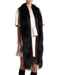 Marni Sheep Fur & Bonded Satin Stole black - Lyst