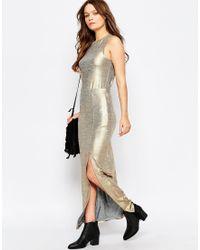 First & I - First And I Mavi Metallic Maxi Skirt - Lyst