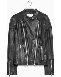 Mango Quilted Leather Jacket - Lyst