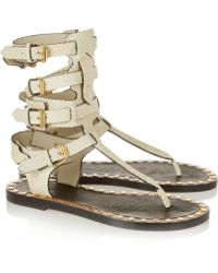 Isabel Marant - Jeepy Studded Snake-Effect Leather Sandals - Lyst